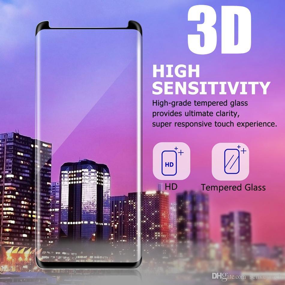 كفر حافظة زجاجي لهاتف سامسونج S9 بلس ثلاثي الأبعاد منحني بالكامل لاصق حافة مقسّى فيلم زجاجي لهاتف Samsung S8 S7 Edge Note 8