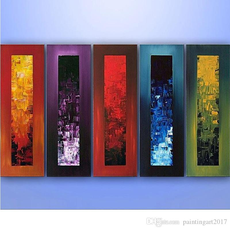 Hand Painted Modern Abstract Oil Painting on Canvas Large Size Paintings Knife 5 Piece Wall Art Pictures For Living Room