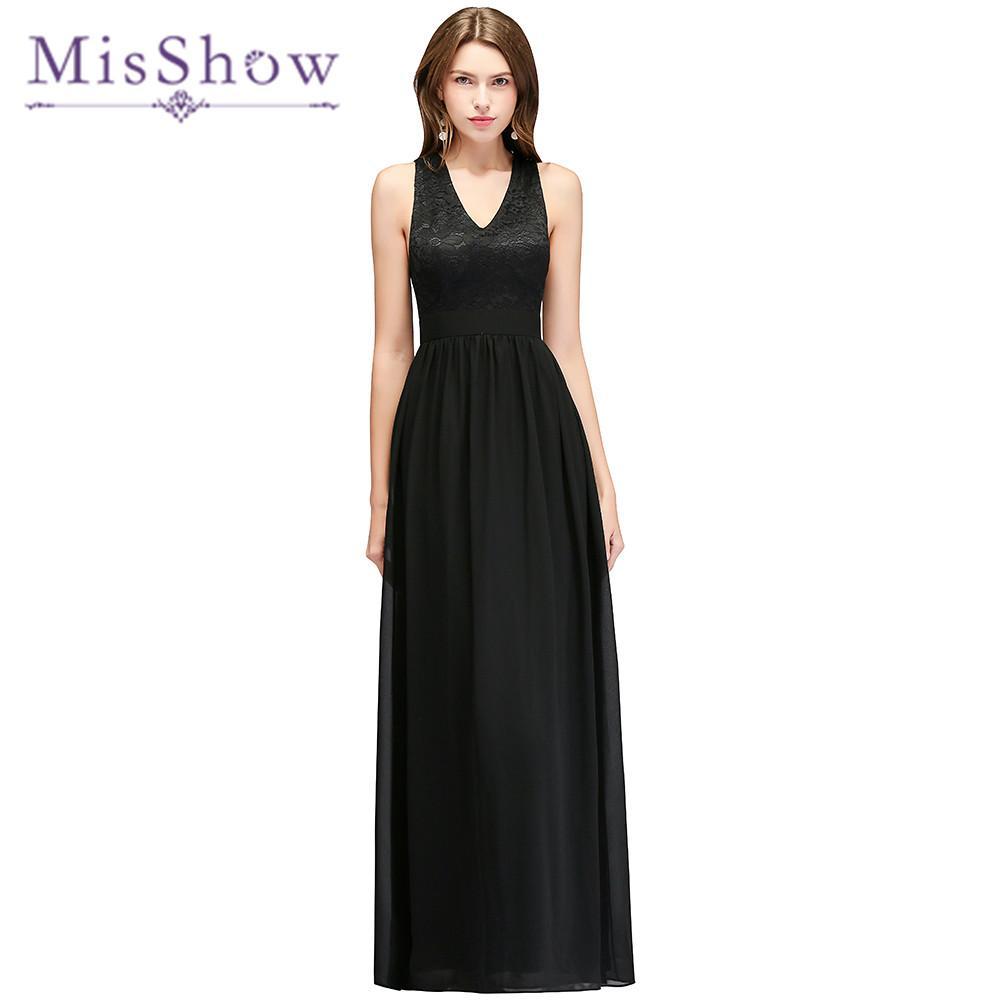 Siyah Seksi Gelinlik Modelleri V Boyun A-line Kolsuz Bow Geri Kat-Uzunluk Törenlerinde Plaj Düğün Konuk Elbise