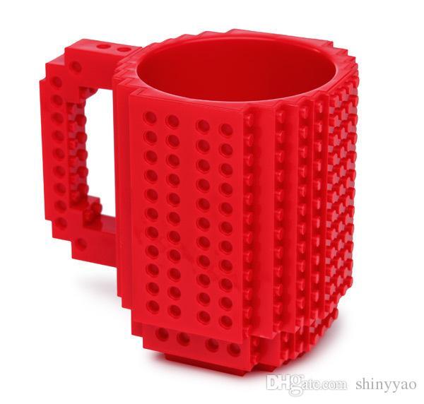 12 oz Caneca de Leite Criativo Xícara De Café Criativo-on Tijolo Caneca de Xícaras de Café de Água Potável Titular para LEGO DIY Design de Blocos de Construção de Quebra-cabeça