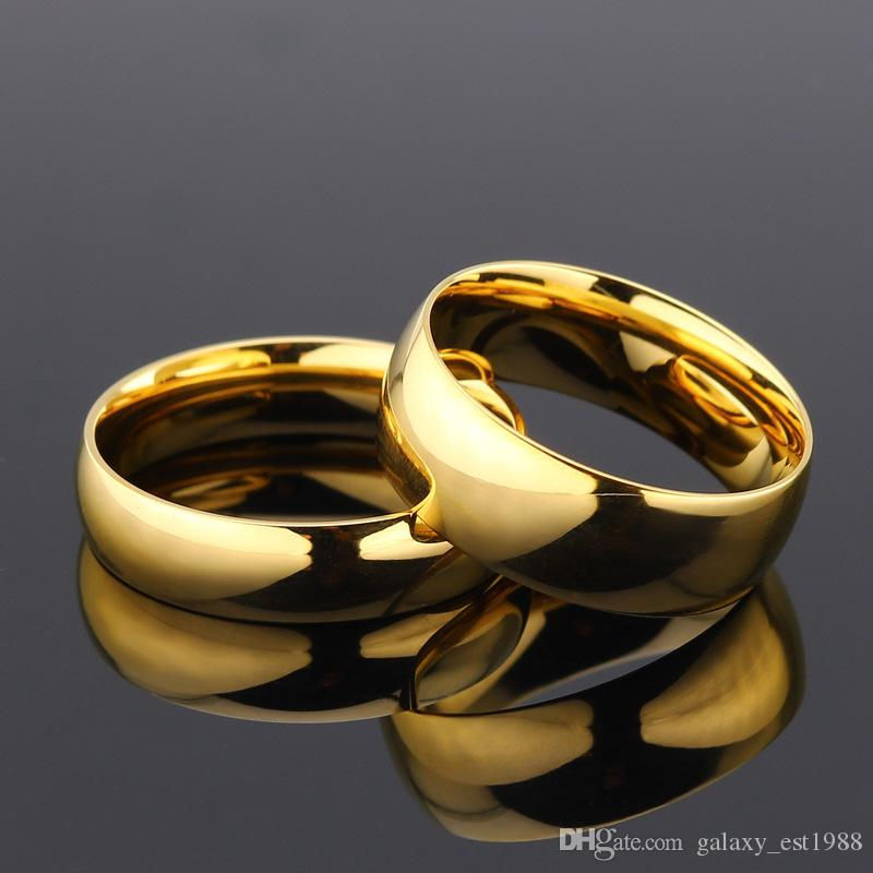 d'argento all'ingrosso di oro 50pcs / lot 4 millimetri 6 millimetri 8 millimetri anelli in acciaio inox di alta qualità per i monili banda di uomini donne nozze nuovo di zecca