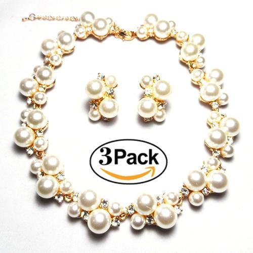 Fashion dinner, wedding bride, pearl necklace, eardrop set, jewelry two-piece set