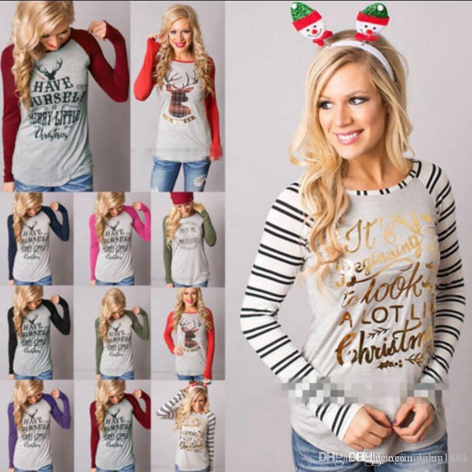 Kadın Noel Elk T Shirt Noel Geyik Gömlek Tops Xmas Mektubu Çizgili Tees Casual Noel Baba Bluz Moda Uzun Kollu Gömlek