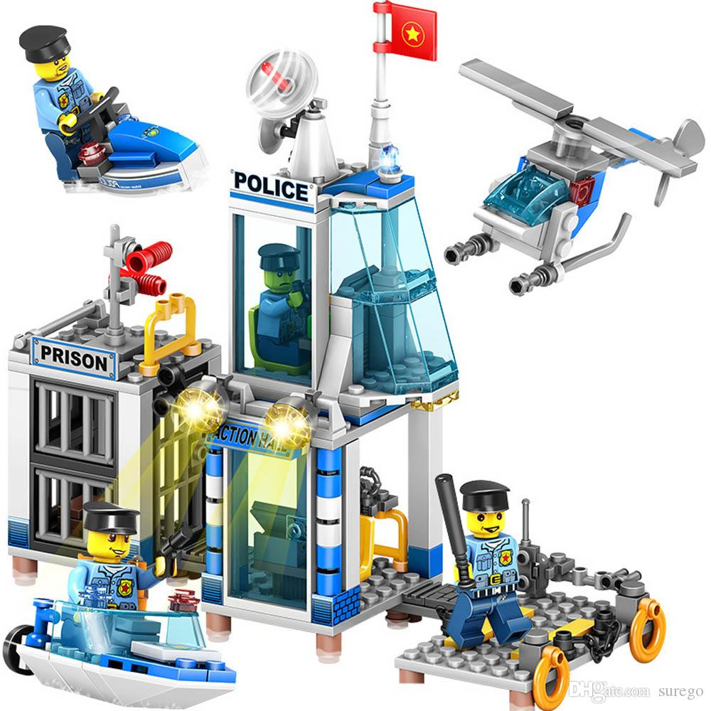 Kitoz City Police Station Prison Island Building Block Brick Helicopter Boat Tower Educational Toy for Boy Gifts