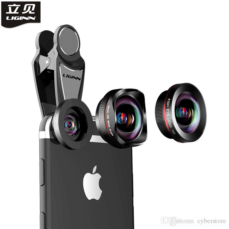 Liginn Fisheye lente 3 em 1 kit 4k hd largo angular + olho de peixe + câmera macro lente celular para iphone xs max xr 7 8