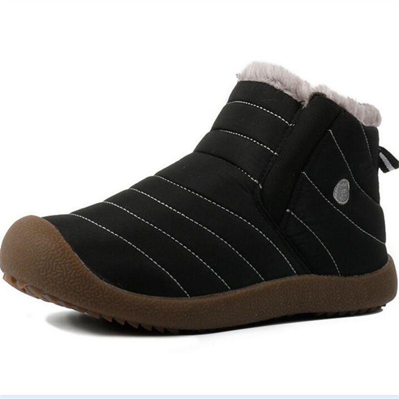 Größe 36-48 Herren Stiefel wasserdicht Winter warm Casual Schuhe Herren Freizeitschuhe mit Pelz flache Schuhe Herren Knöchel Schnee Stiefel