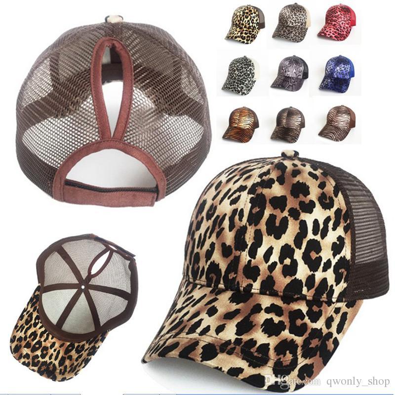 Leopard Ponytail Cap Messy Bun Women Ponytail Caps Cap Fashion Girl Basketball Hats Back Hole Pony Tail Snapbacks 9 Colors