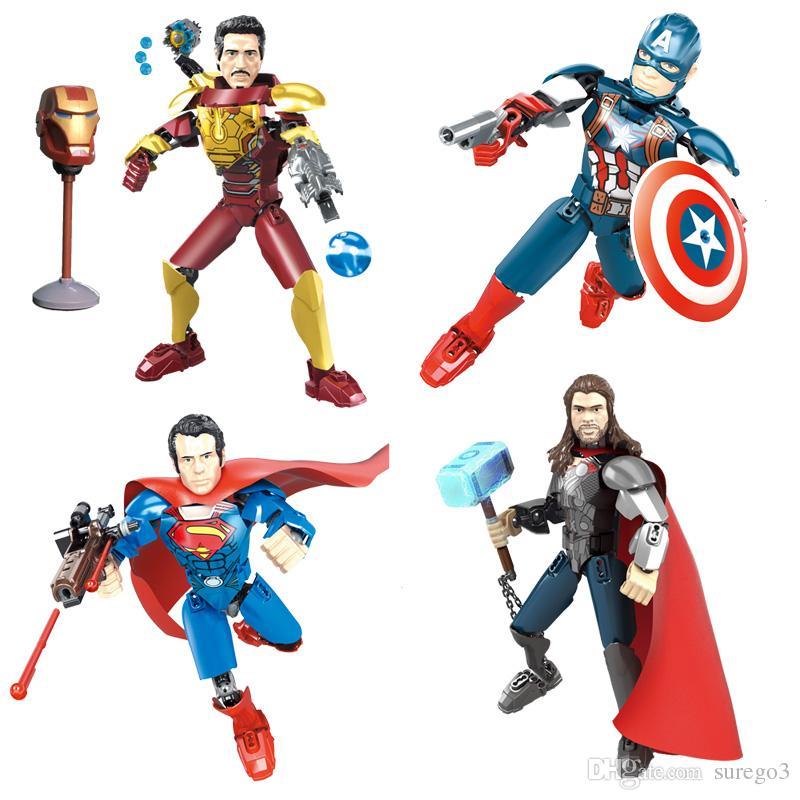 Avengers Super Hero Thor Captain America Ironman Tony Stark Buildable Action Figure Movable Joint Miniature Building Block Toy Plastic Brick