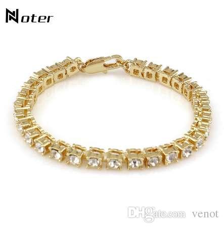 Noter роскошный кубический цирконий теннисный браслет подвески Золото Серебряный цвет хип-хоп Браклет для мужских женщин рок ювелирные изделия Pulsera