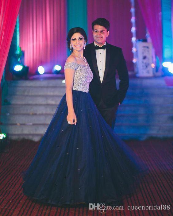 Темно-синий тюль линия платья выпускного вечера с бисером блестками с плеча молнии обратно вечерние платья