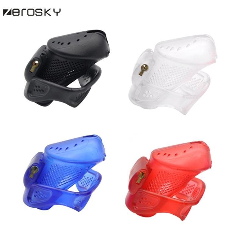 Zerosky dispositivo de castidad masculina con diseño perforado anillo del pene jaula con cerraduras de plástico juego adulto juguetes sexuales para mujeres hombres Y18110302