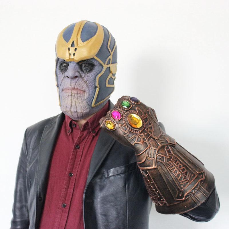 1 UNIDS Hero Thanos Máscara Infinito Guerra Gaunt Cosplay Gag Juguetes Para Niños Adultos Halloween Prop Guantes de Látex Máscara de Alta Calidad Y1891202