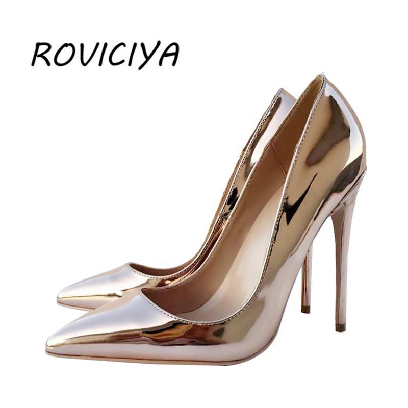 Mode sexy 12 cm extrême hauts talons miroir peu profond bout pointu couleur métal or champagne argent QP029 ROVICIYA