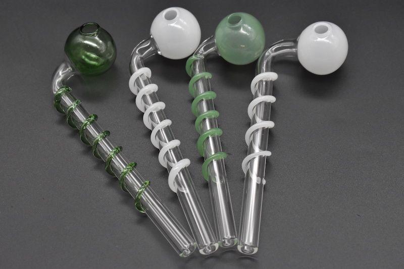 14 cm Coloré courbe en pyrex spirale fumer pipe à huile en verre épais tête en verre brûleur à mazout tuyau pour fumer livraison gratuite