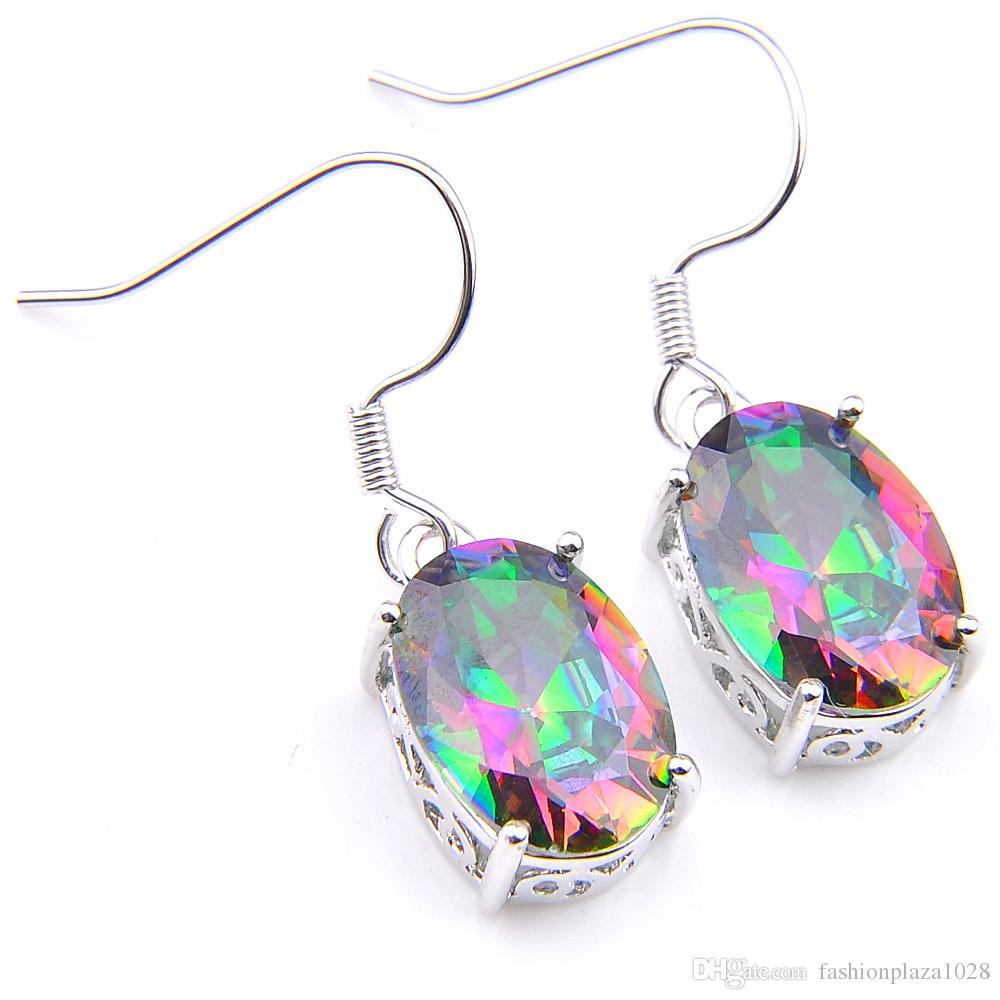 Luckyshine Muhteşem Takı Oval Gökkuşağı Mistik Topaz Taşlar 925 Gümüş Kaplama Renkli Kadınlar Bırak Küpe Ücretsiz Taşımaları Hook