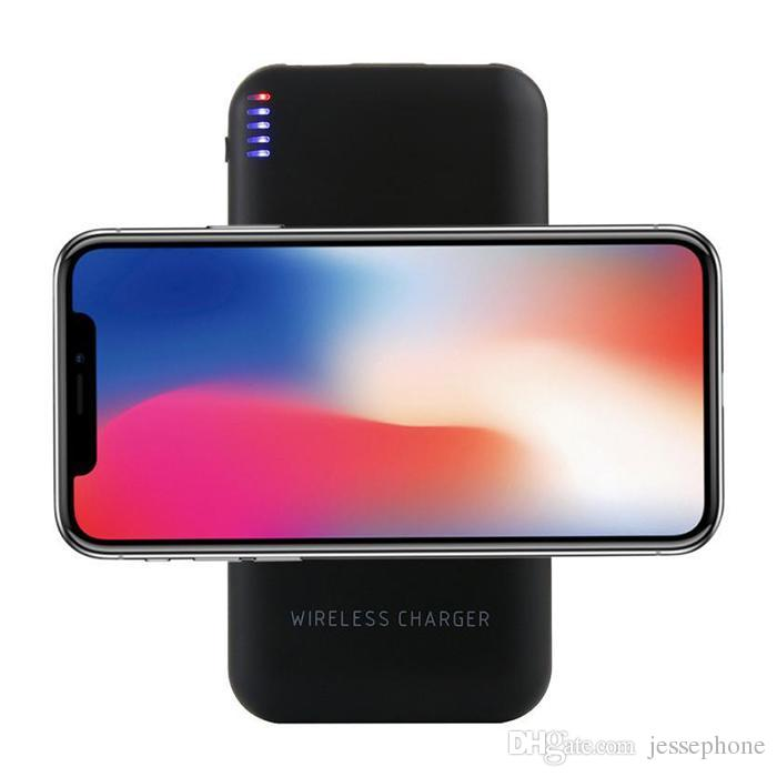2018 New Ultrathin 8000mAh Portable Power Bank Qi Wireless Charger For Samsung Note 8 S8 for iPhone X/8 Plus oneplus Drop shipping MOQ 30pcs