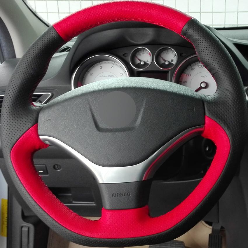 Черный красный натуральная кожа DIY ручной прошитой автомобилей руль обложка для Peugeot 308 2012 2013 2014
