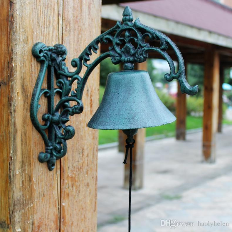 Cast Iron Large Big WELCOME Dinner Bell Wall Mounted Dark Green Metal Bell Crafts Home Shop Store Decoration Door Porch Cabin Lodge Antique