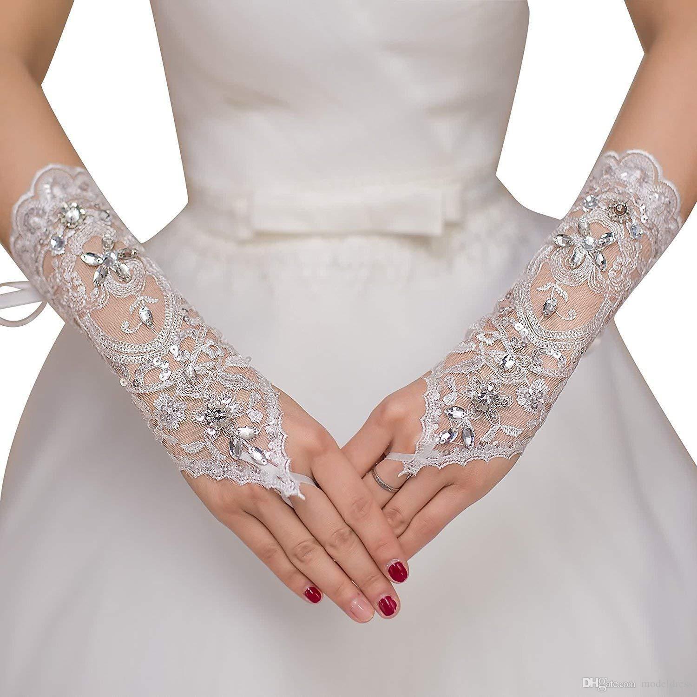 جديد حار بيع 1PAIR أصابع الرباط قفازات الزفاف جديد حار بيع الأزياء الأبيض، قفازات العاج العروس الزفاف مع حزام سوار