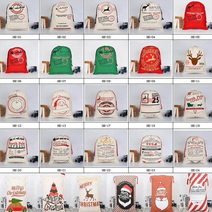 Christmas Large Canvas Gift Bag Monogrammable Storage Bags Santa Reindeers Drawstring Candy Bag Christmas Supplies WX9-743