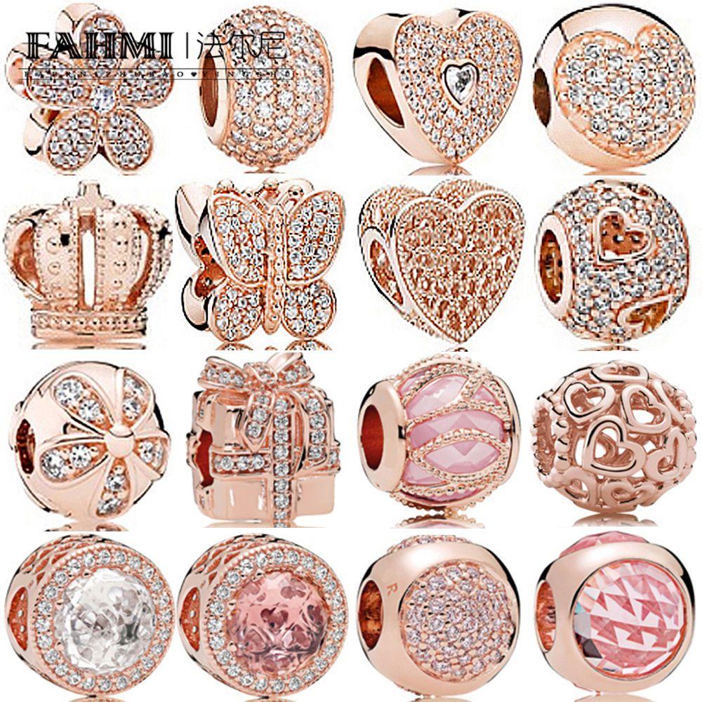 Fahmi 100% 925 Sterling Silver Jewelry Charm Rose Gold Crown regalo tre perle Bow Temperamento Squisito modo delle signore Bead epoca