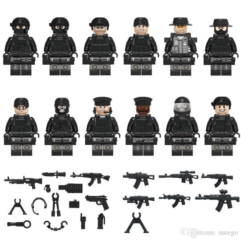 12pcs COD SWAT Mini Toy Figure Special Forces Police Figure with Weapons Mini Building Block Construction Toy Figure for Boy Kid