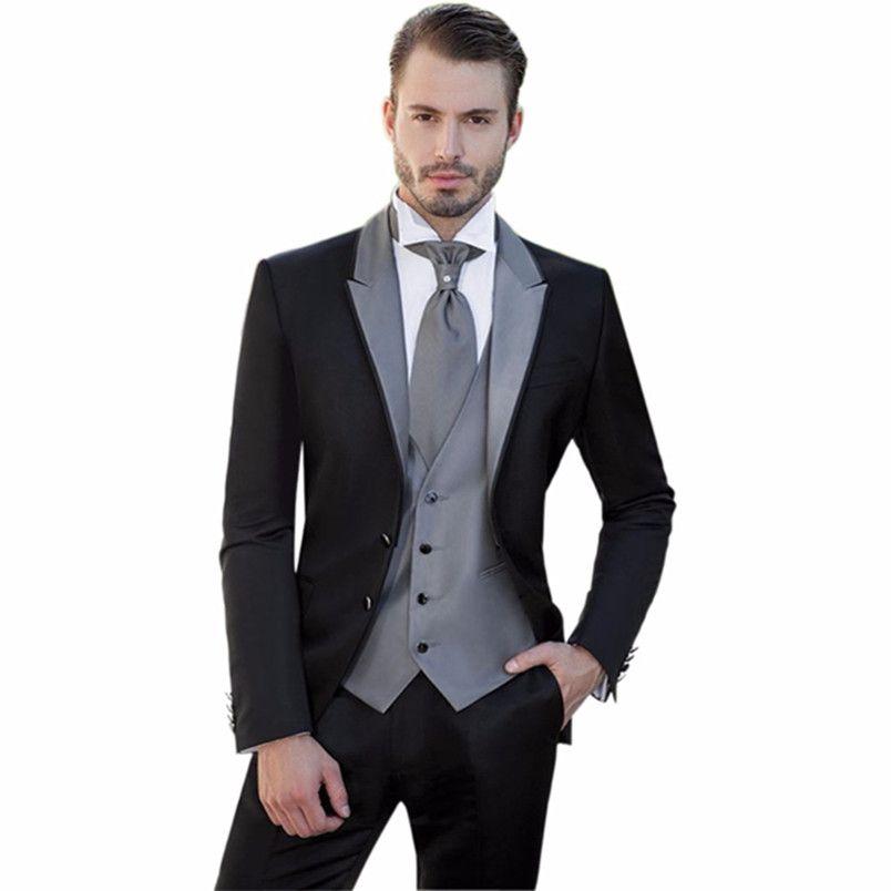 New Black Man Groom Wedding Party Suit Men's Suits for Wedding Groomsmen Tuxedos Custom Made (jacket+pants+vest)