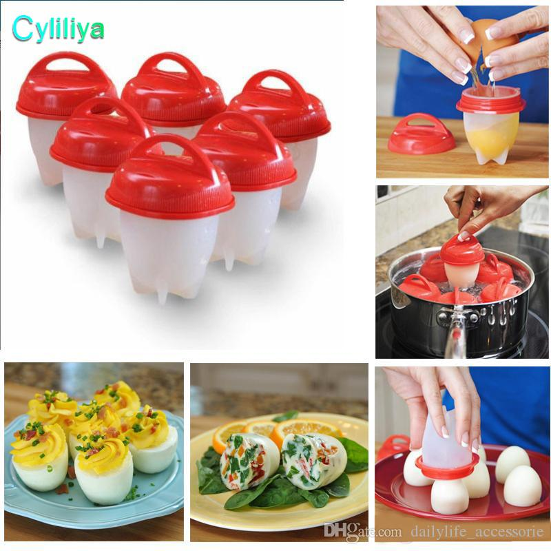 Non Stick Silicone Egg Cooker Hard Boiled Eggs Without The Shell Egg Boil Cooking Tools 6pcs/Set Make Delicious Egg Dishes