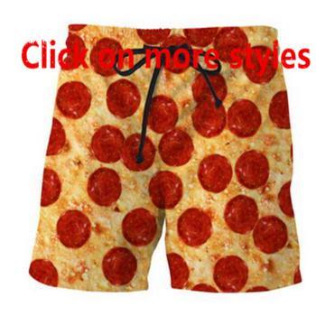 Новая мода пары Мужчины Женщины унисекс еда пицца говядина 3D печати бриджи пляжные шорты бегунов M20