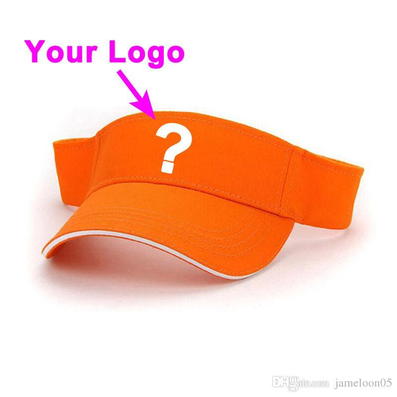 Güneşlik kapağı saf pamuk kumaş unisex turuncu renk ayarlanabilir yakın düşük miktar açık spor tenis şapka özel beyzbol şapkası
