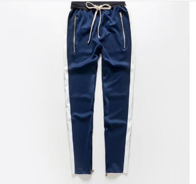 Erkekler Yan Çizgili Alt Fermuar İpli Sweatpants Yüksek Streetwear Jogger Erkekler Patchwork Elastik Bel Parça Pantolon