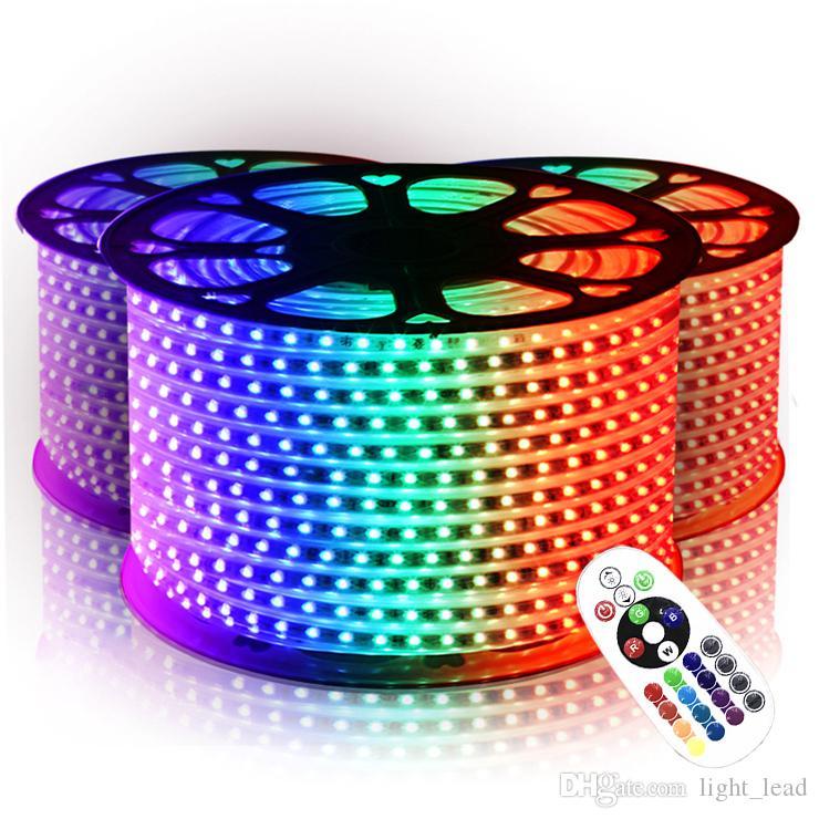 Étanche Lights bande SMD 5050 RVB LED 110V 220V bande 10M-50M 60LEDs / m IP65 Alimentation Télécommande IR