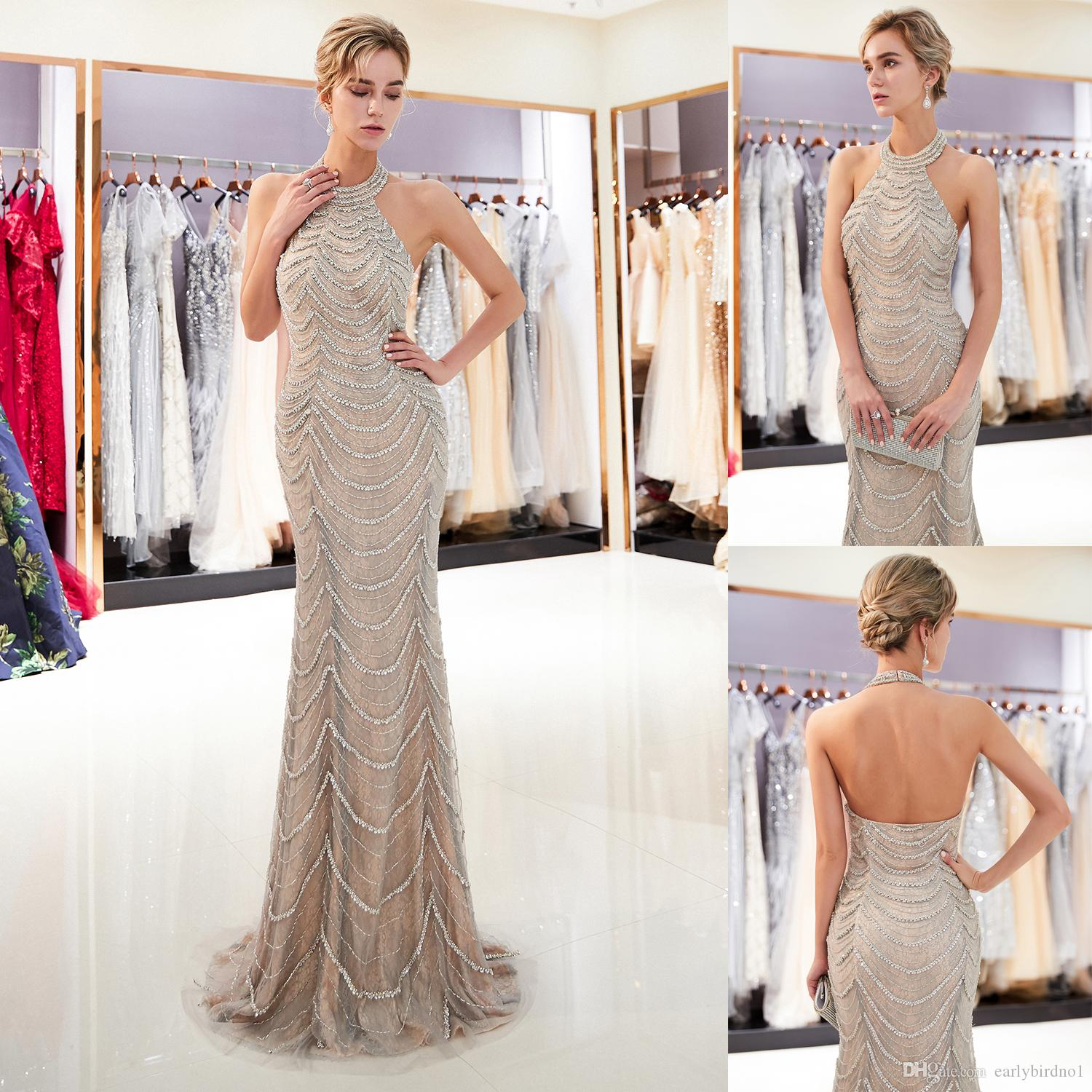 Sexy Halter Crystal Sequins Mermaid Evening Dresses Backless Designer Formal Occasion Wear Wedding Party Ball Gown 100% Real Image CPS1172
