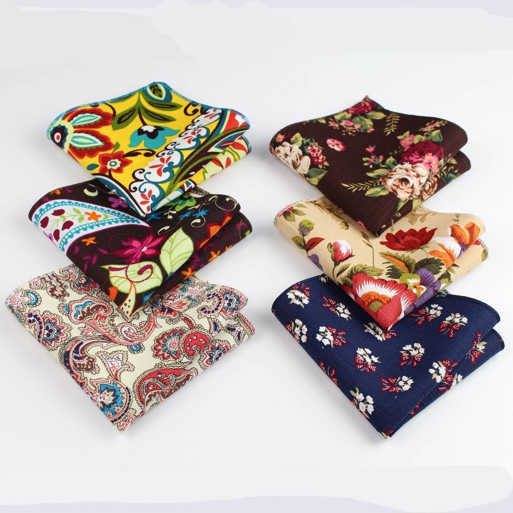 10pcs Çiçek Handkerchief Eşarplar Vintage Keten Paisley Hankins Erkekler S Cep Kare Mendiller 22 * 22cm
