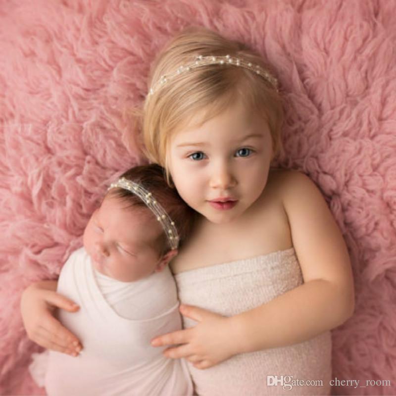 Baby-Stirnband-Kurz Perle 9 Farben Boutique-Haar-Zusätze Wie Fotografie Props-Mädchen-Haar-Bänder Geburtstags-Geschenke für Kinder X081