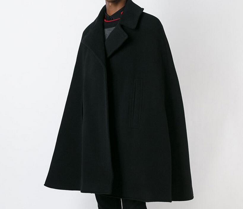 S-4XL Hot 2018 Spring / Autumn Male New Fashion W Długiej Sekcja Luźna Kształt Cloak Mao Nepalski Płaszcz