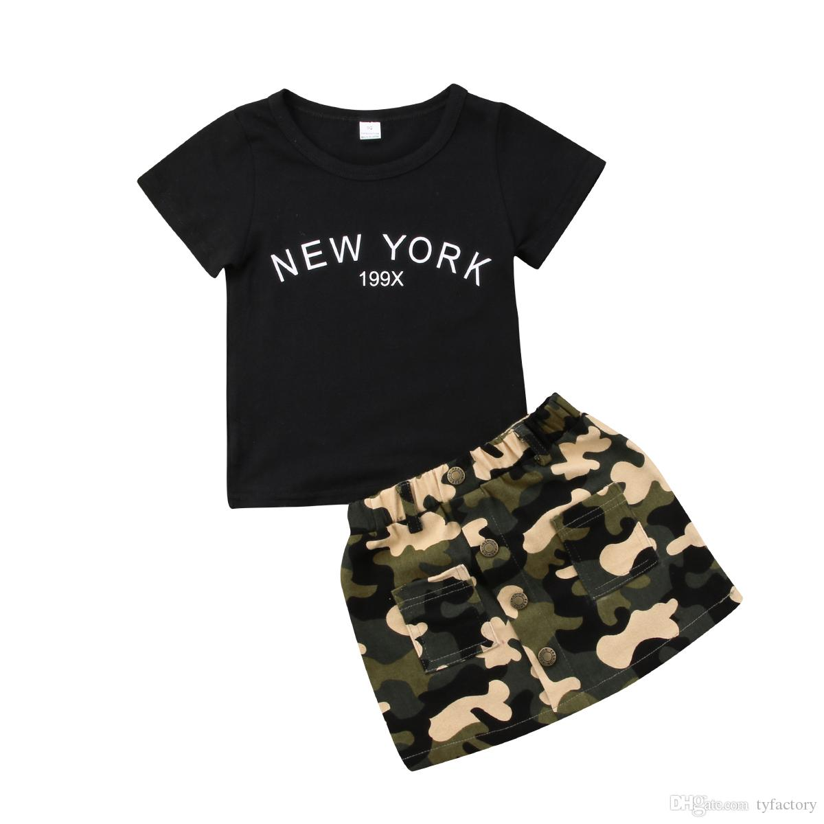 Kid girls black T-shirt camo A-Line skirt 2-piece set baby girl outfit fashion children letter print dress clothes toddler boutique 1-6Y