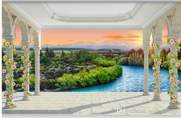 Foto Tapete Hohe Qualität 3D Stereoskopischen Balkon römische spalte sonnenaufgang fluss landschaft 3d tv hintergrund wand Kunst Wandbild für Wohnzimmer L