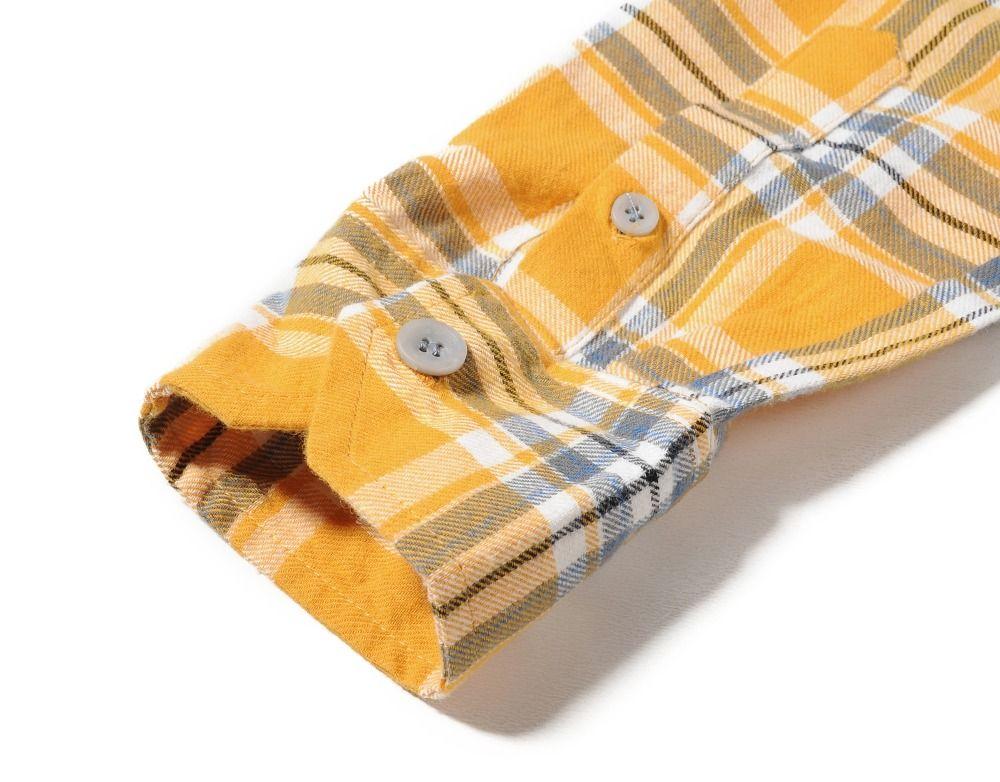 4d16f426af476 Nouveau justin bieber FEAR OF GOD flanelle Ecosse grille à manches longues  chemises Hiphop étendu ourlet