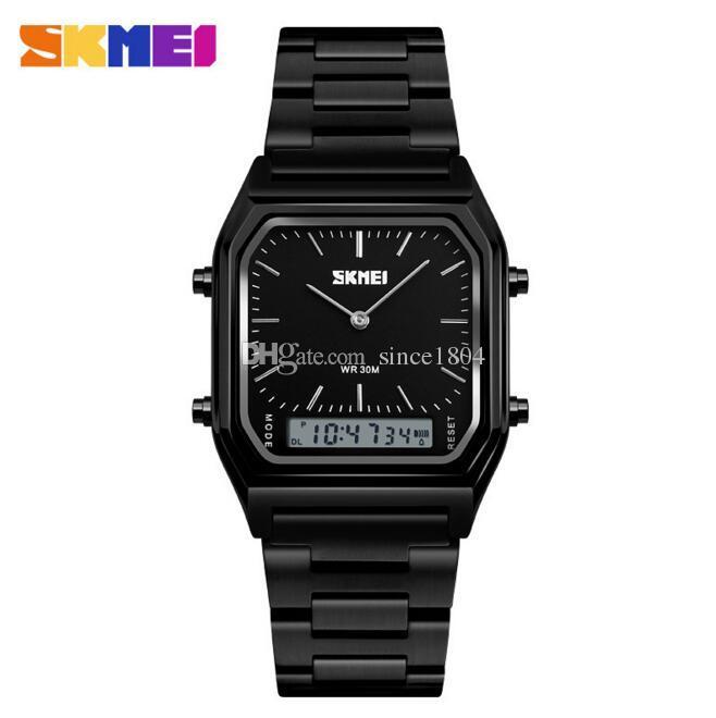SKMEI Mężczyźni i kobiety Wodoodporna stalowa taśma Elektroniczna zegarek Retro Moda Stół Biznesowy Podwójny Wyświetlacz Wielofunkcyjny Zegarek