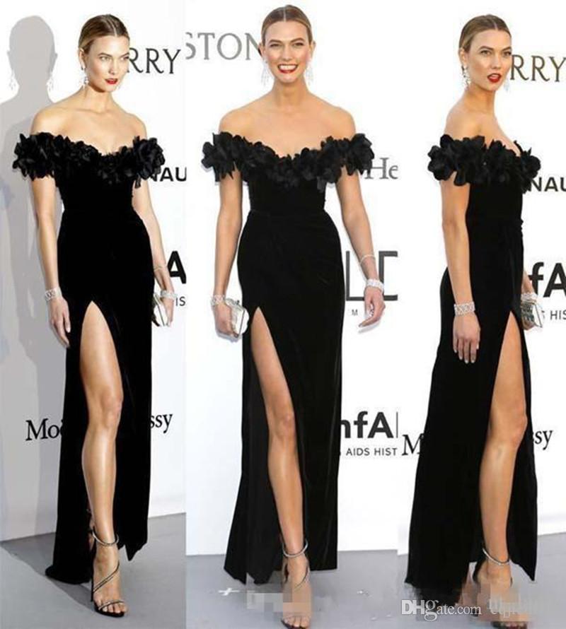 2019 New Arrival Karlie Kloss Black Formal evening Dress Celebrity Dresses Cheap off shoulder 3D floral velvet split Prom Dresses
