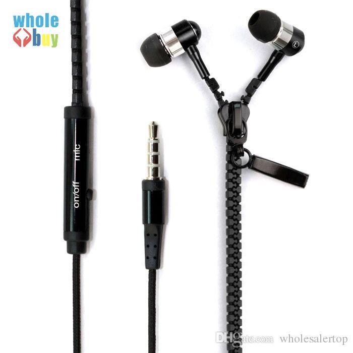 100% de alta qualidade fone de ouvido estéreo baixo em fones de ouvido de metal com zíper fones de ouvido com microfone 3.5mm jack fones de ouvido para iphone x 8 7 6s para samsung
