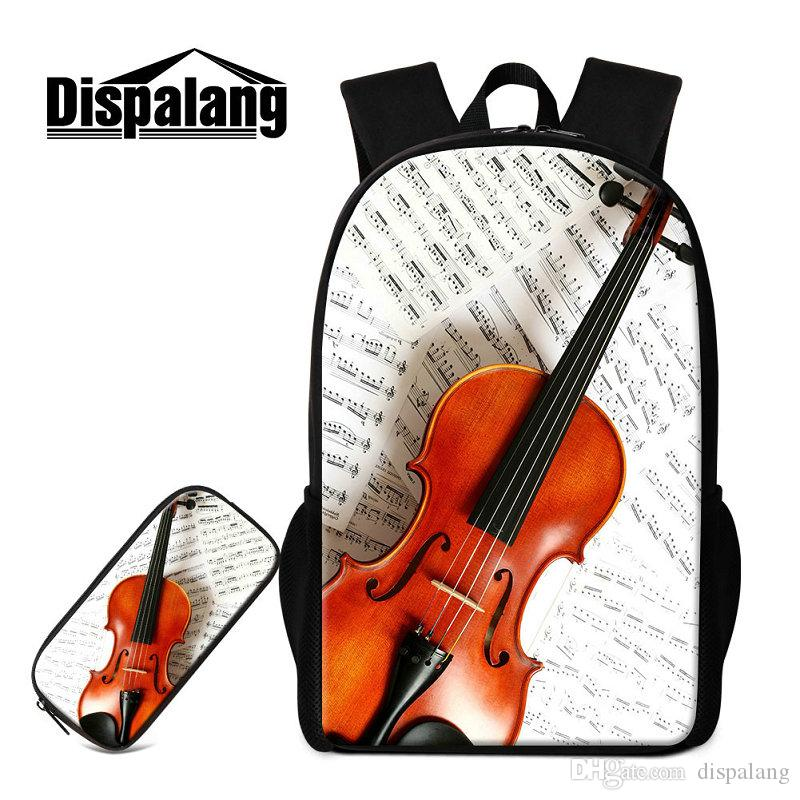 2 PCS/Set Children School Bags For Primary Violin Design Backpacks Pencil Case For Kids Pretty Bookbags Mochilas Escolar For Teenagers Pack