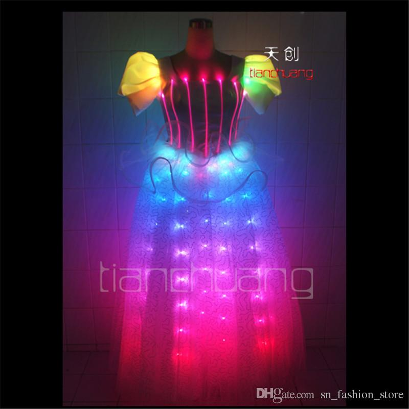 TC-41 Full colorProgrammable dance dress led costumes ballroom singer wears stage show clothing disco wedding colorful lighting performance