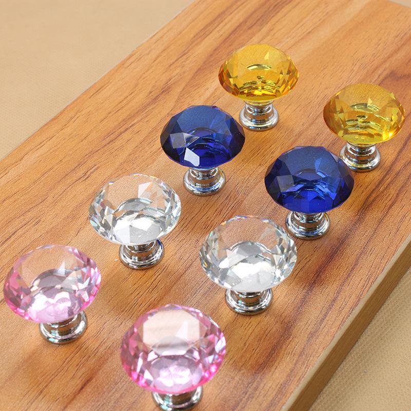 30mm Diamond Crystal Door Knobs Glass Drawer Knobs Kitchen Cabinet Furniture Handle Knob Screw Handles and Pulls RRA3679