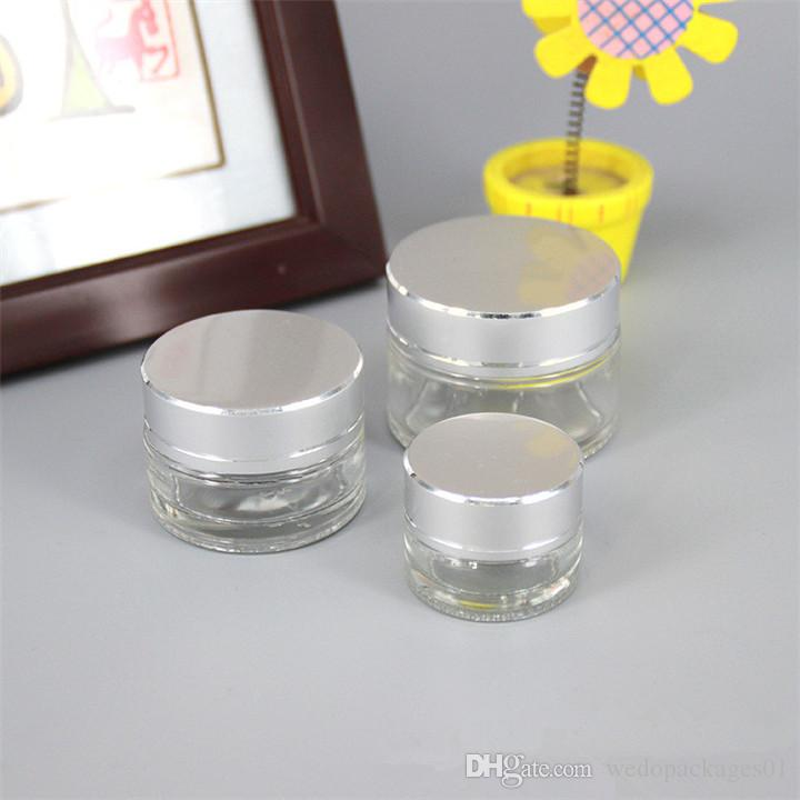 Clear transparent glass cream jar 5g 10g 30g capacity cosmetic facial cream pot container with alumite silver lid printing logo cheap