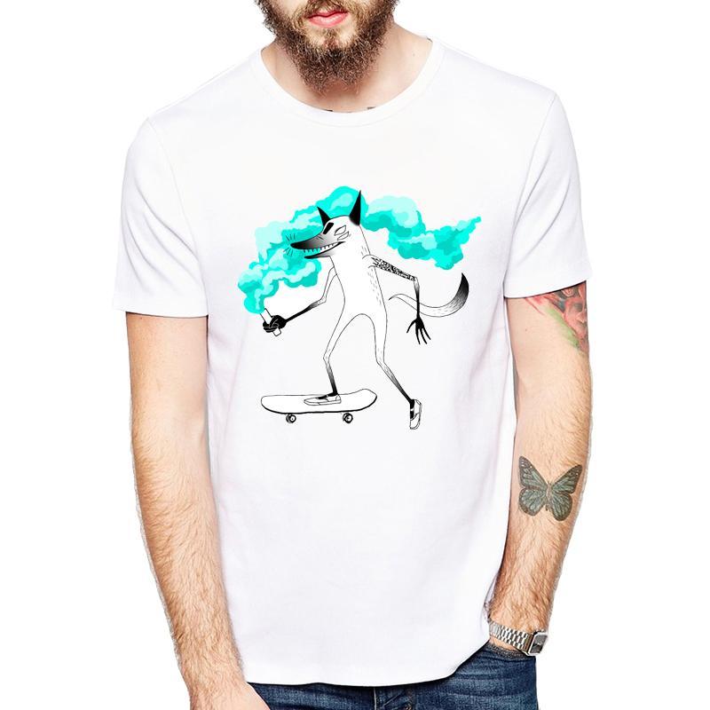 Harajuku 2018 T-shirt con stampa animalier Fox Top da uomo Camiseta T-shirt bianca con grafica semplice Hot Top Tees