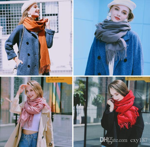 Women Winter solid color cashmere scarves with tassel shawls and wraps lady pashmina pure long cashmere head scarf hijabs stoles