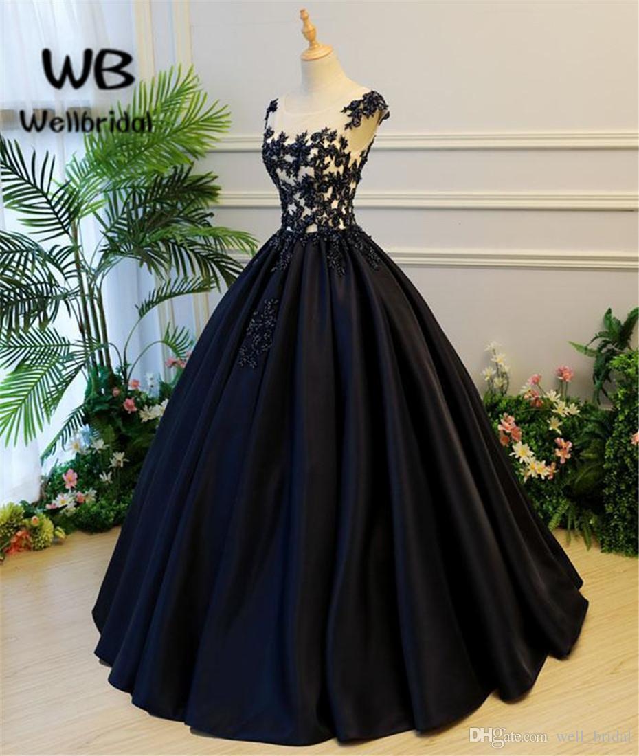 Compre See Aunque 2018 Vestido De Fiesta Negro Largo Con Apliques Vestido De Noche Formal Encaje Hasta Espalda Satén Mangas Cortas Vestidos De Noche