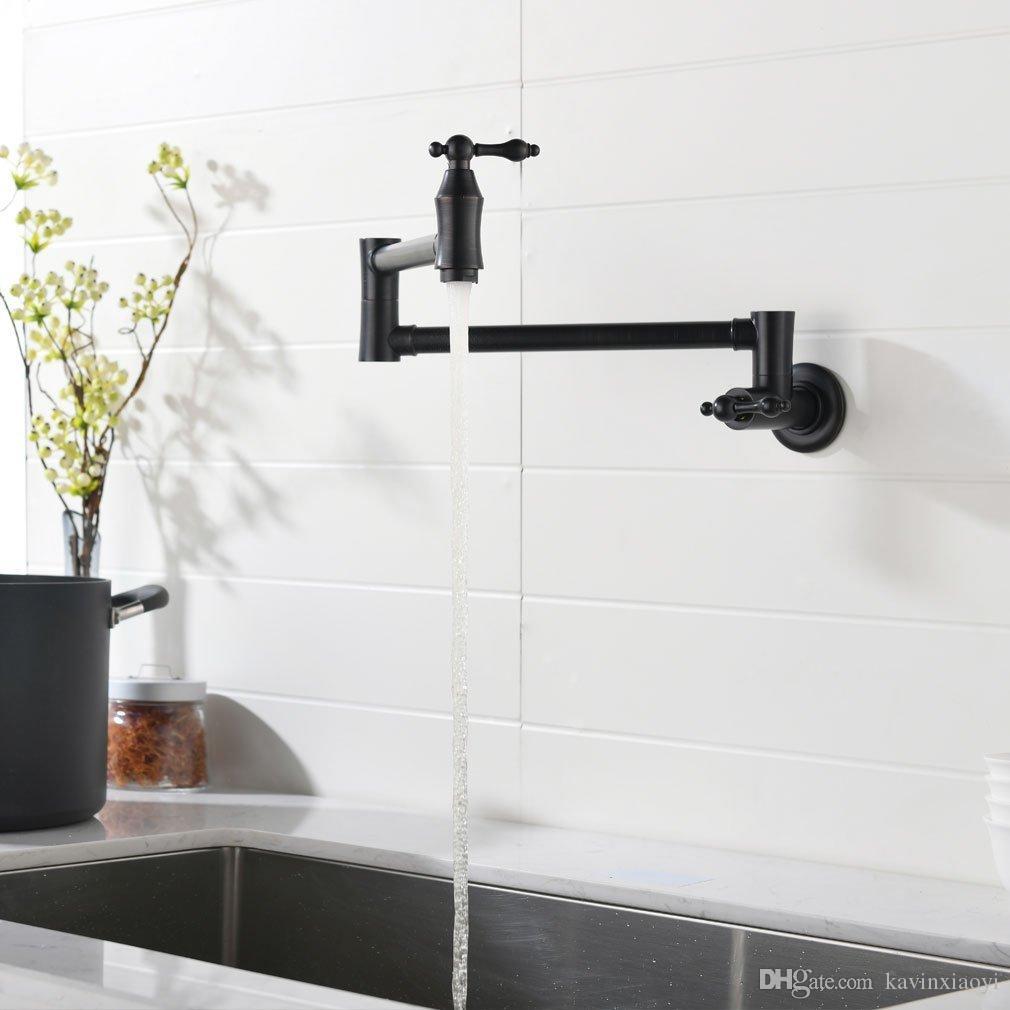 2019 Wall Mounted Solid Brass Single Cold Water Pot Filler Kitchen Faucet,  Double Joint Spout ,ORB BLACK Wall Mounted Kitchen Faucet Tap From ...